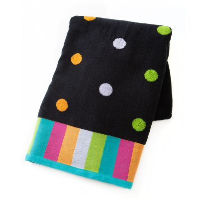 Trampoline Dot Bath Towel - Black