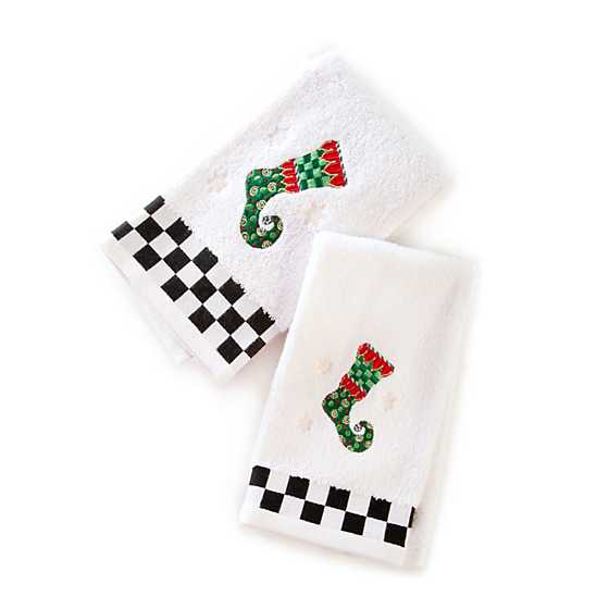 Elf Stocking Fingertip Towels - Set of 2