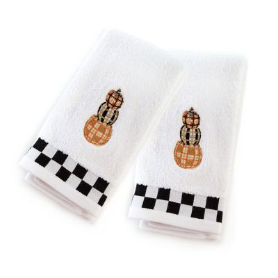 Tartan Pumpkins Fingertip Towels - Set of 2