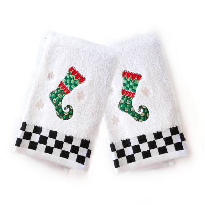 Elf Stocking Hand Towels - Set of 2