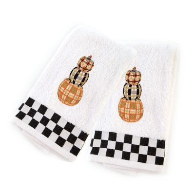 Tartan Pumpkins Hand Towels - Set of 2