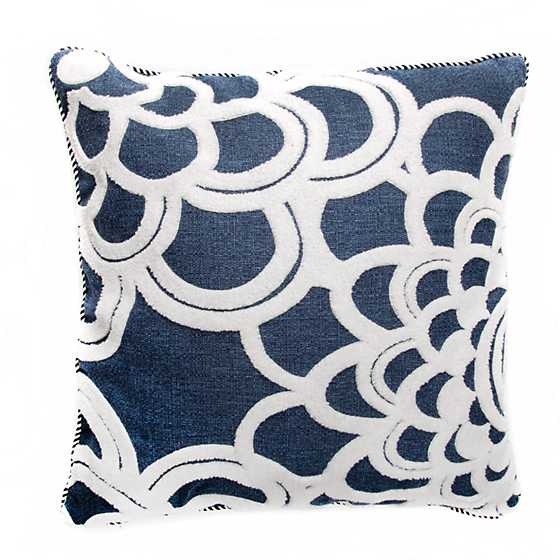Geo Flower Outdoor Accent Pillow - Navy image one