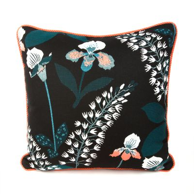 Wood Iris Outdoor Accent Pillow