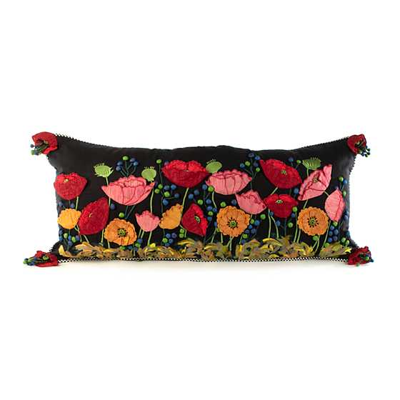 Poppy Lumbar Pillow - Black