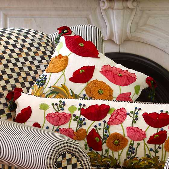 Red Poppy Square Pillow image four