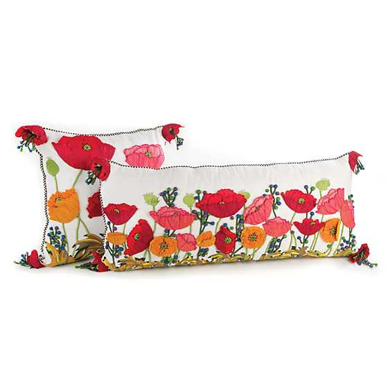 Red Poppy Square Pillow image three
