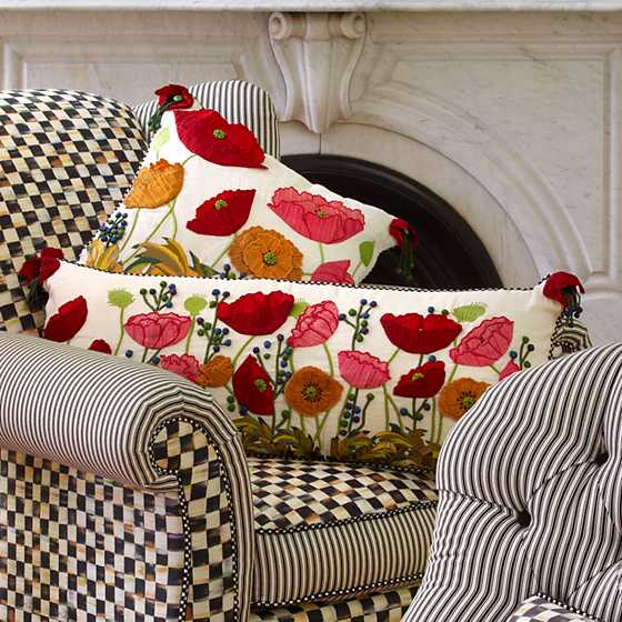 Red Poppy Lumbar Pillow image four