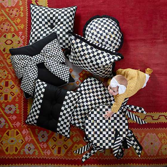 Courtly Check Button Pillow image two
