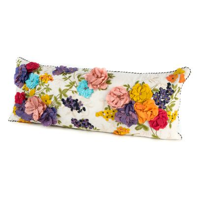 Covent Garden Floral Lumbar Pillow - White