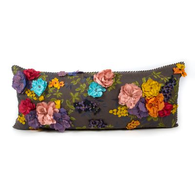 Covent Garden Floral Lumbar Pillow - Grey