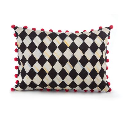 Courtly Harlequin Pom Pom Lumbar Pillow - Red