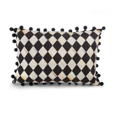 Courtly Harlequin Pom Pom Lumbar Pillow - Black