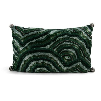 Malachite Beaded Lumbar Pillow