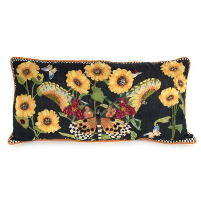 Monarch Butterfly Lumbar Pillow - Black