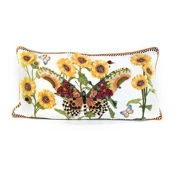 Monarch Butterfly Lumbar Pillow - White image one