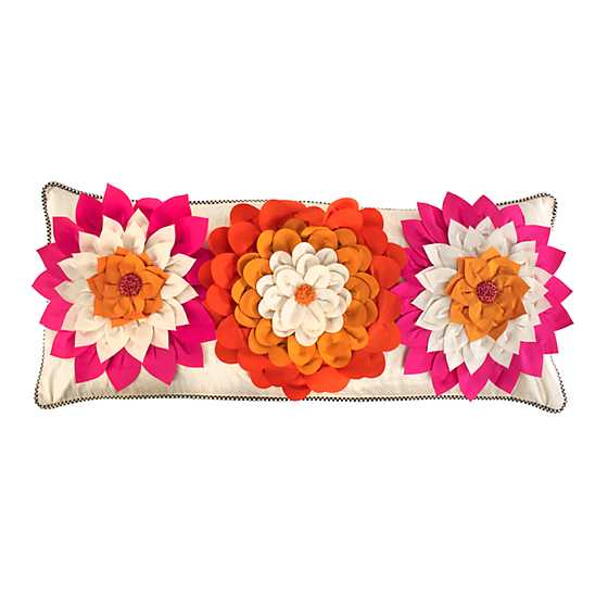 Super Pink Dahlia Lumbar Pillow
