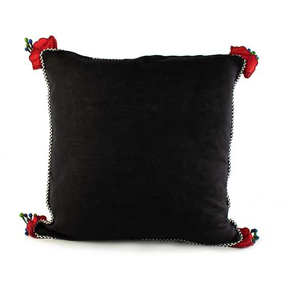 Poppy Square Pillow - Black image three