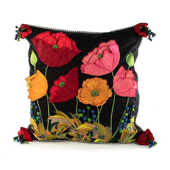 Poppy Square Pillow - Black