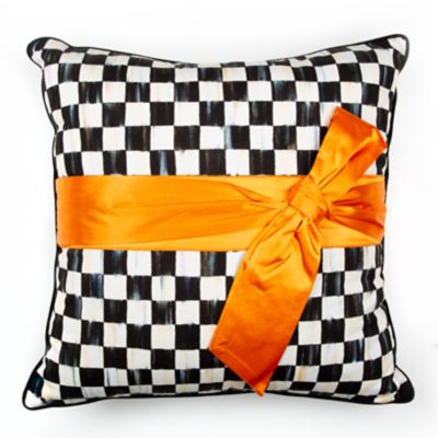 Image for Courtly Check Sash Pillow - Orange