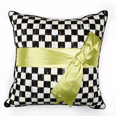 Courtly Check Sash Pillow - Green