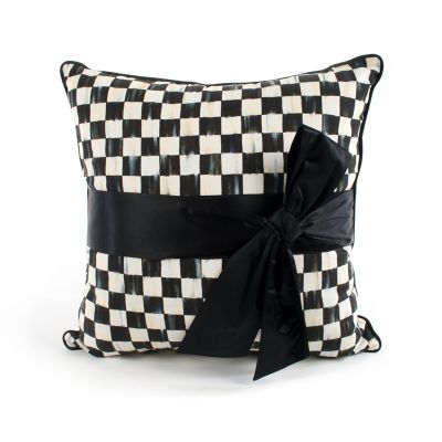 Courtly Check Sash Pillow - Black