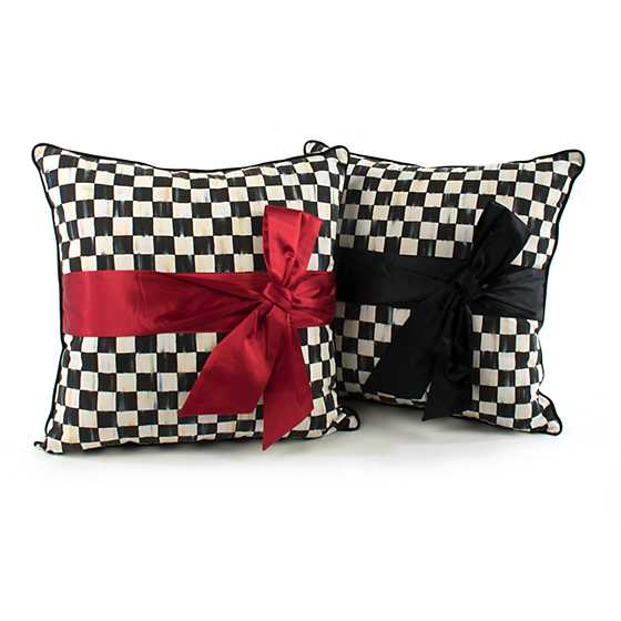 Courtly Check Sash Pillow - Red image four