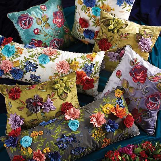 Covent Garden Floral Square Pillow - White image four