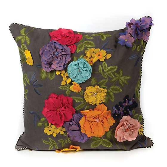 Covent Garden Floral Square Pillow - Grey