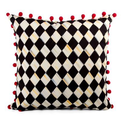 Courtly Harlequin Pom Pom Pillow - Red