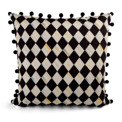 Courtly Harlequin Pom Pom Pillow - Black