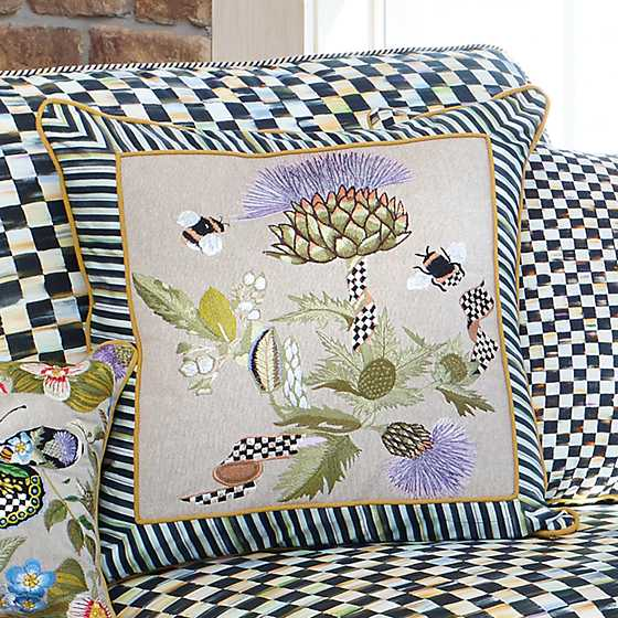 Thistle & Bee Square Pillow - Large image two