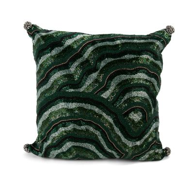 Malachite Beaded Pillow