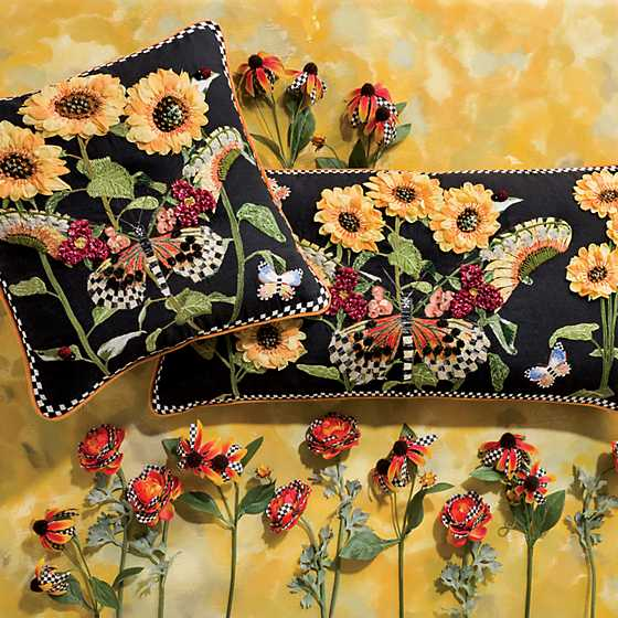 Monarch Butterfly Square Pillow - Black image two