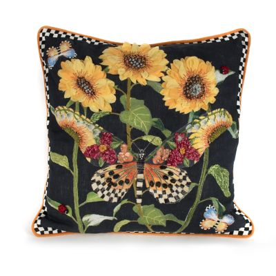 Monarch Butterfly Square Pillow - Black