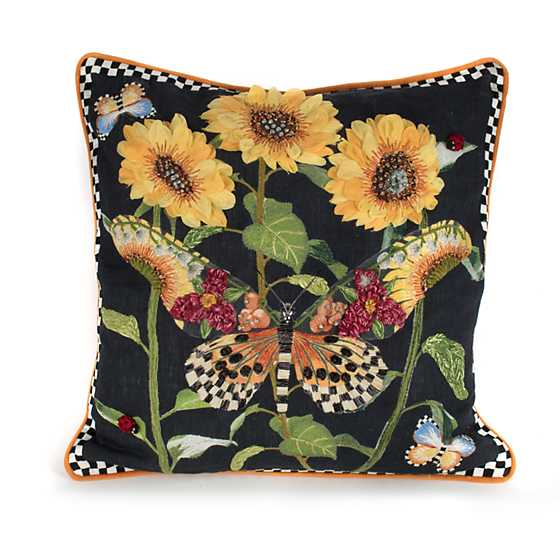 Monarch Butterfly Square Pillow - Black image one