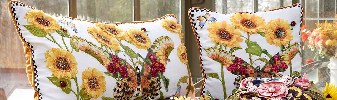Monarch Butterfly Square Pillow - White Banner Image