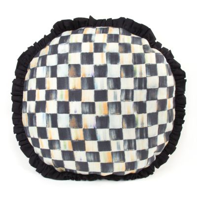 Courtly Check Ruffled Round Pillow