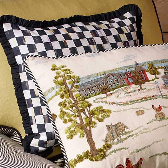 Courtly Check Ruffled Square Pillow image four