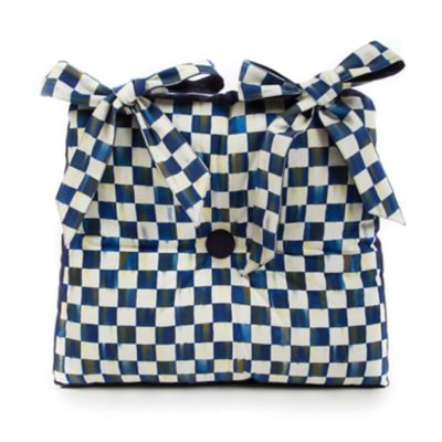 Royal Check Button Tuft Stool Cushion