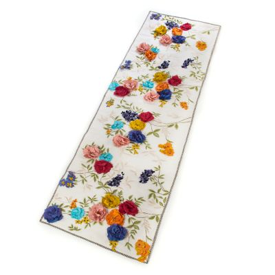 Covent Garden Floral Bed Scarf - White
