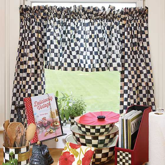 Courtly Check Cafe Curtains - Set of 2 image five