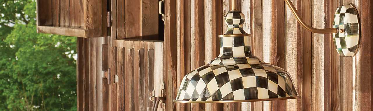 "Courtly Check Barn Sconce - 12"" Banner Image"