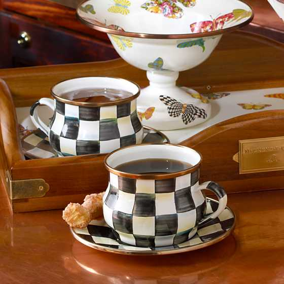 Courtly Check Enamel Teacup