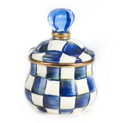 Royal Check Enamel Lidded Sugar Bowl