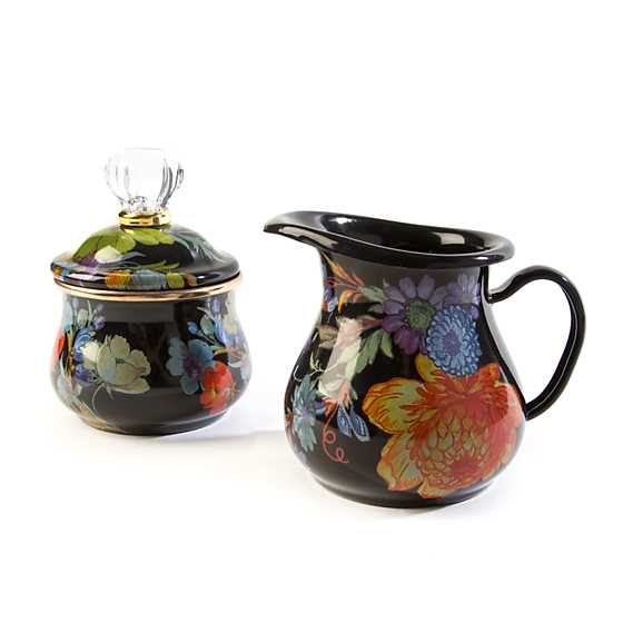 Flower Market Lidded Sugar Bowl - Black image three
