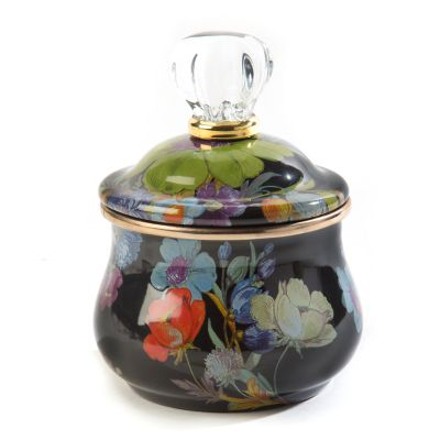 Flower Market Lidded Sugar Bowl - Black