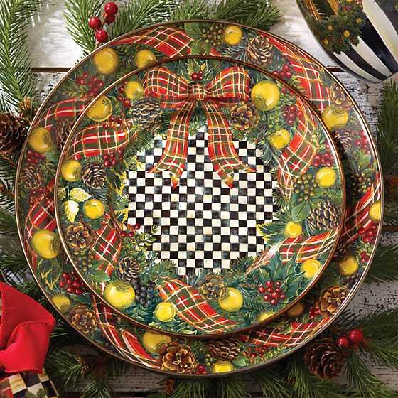 Mackenzie Childs Evergreen Enamel Salad Dessert Plate