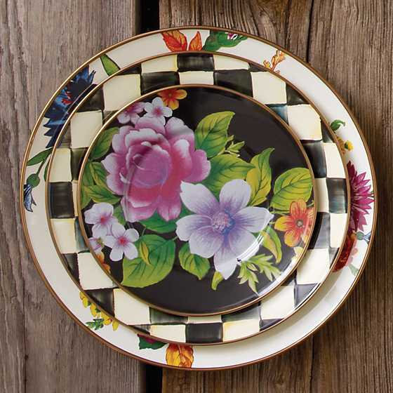 Flower Market Salad/Dessert Plate - Black image two