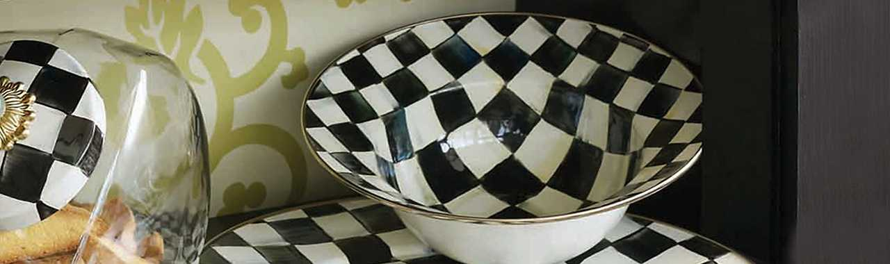 Courtly Check Enamel Serving Bowl Banner Image