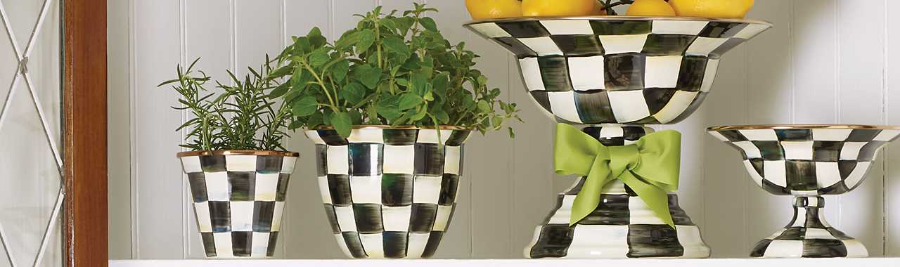 Courtly Check Enamel Compote - Large Banner Image